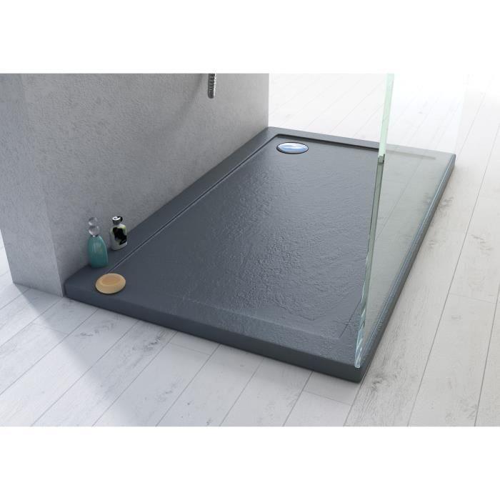 receveur plateau bac douche acrylique 80x110 effet pierre. Black Bedroom Furniture Sets. Home Design Ideas