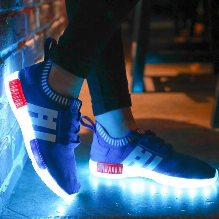 Enfants Confortable chaussures Baskets Garçons filles Bébé LED 7 Couleur USB Chaussures de sport KbNHMhS75