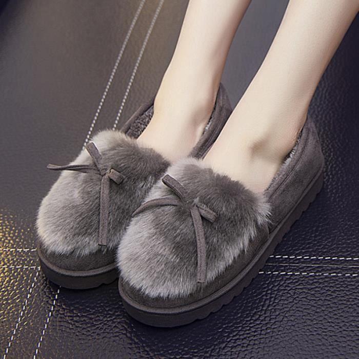 Chaussures Femme Hiver Peluche fond épaisé Chaussure BJXG-XZ065Gris38 KnWNM