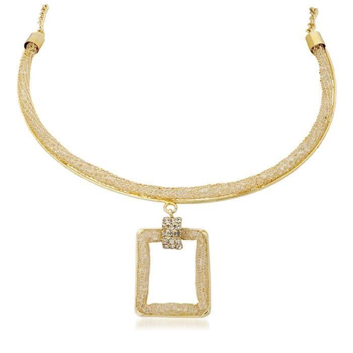 Plaqué or géométrique Collier Femme PourL0I03