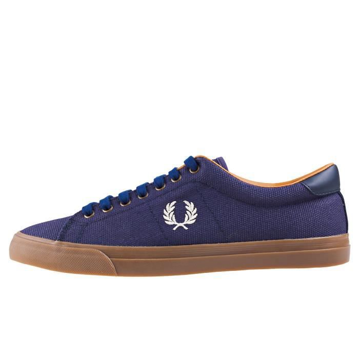 Fred Perry Underspin Heavy Waxed Hommes Baskets Midnight Bleu - 9 UK