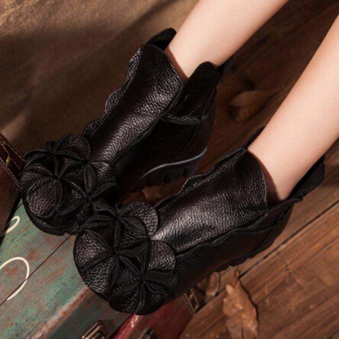 Dcontracte Main Style Femmes Ethnique Fleurs Chaussures Bottes Martin Cousu Cuir En dIvqwffOt