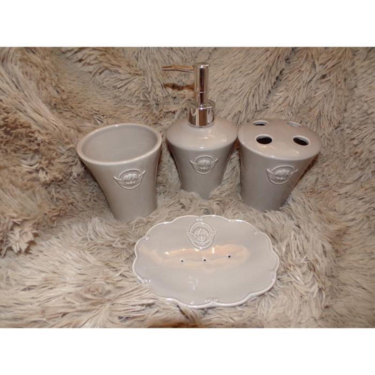 Salle De Bain Taupe en ce qui concerne coffret 4 accessoires salle de bain taupe raphael decor ange