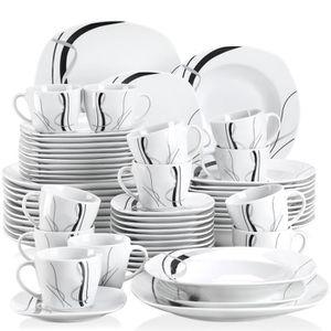 SERVICE COMPLET Veweet FIONA 60pcs Service de Table Porcelaine 12p