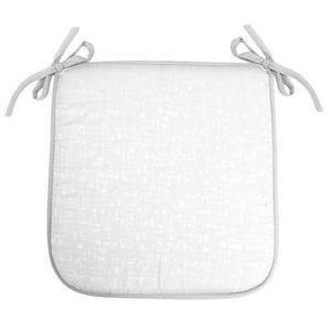 coussin de chaise galette 40 x 40 x 35 cm jacquard adamo blanc - Coussin De Chaise 40x40