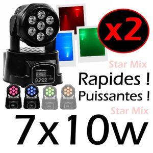 LAMPE ET SPOT DE SCÈNE 2 LYRES WASH 7X10W RGBW PUISSANTES et RAPIDES + DM