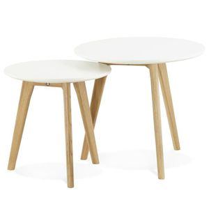 TABLE BASSE Set de 2 Tables basses scandinave ronde blanche