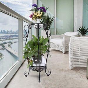 PORTE-PLANTE Support de pot de plante de fleur en fer à 2 couch