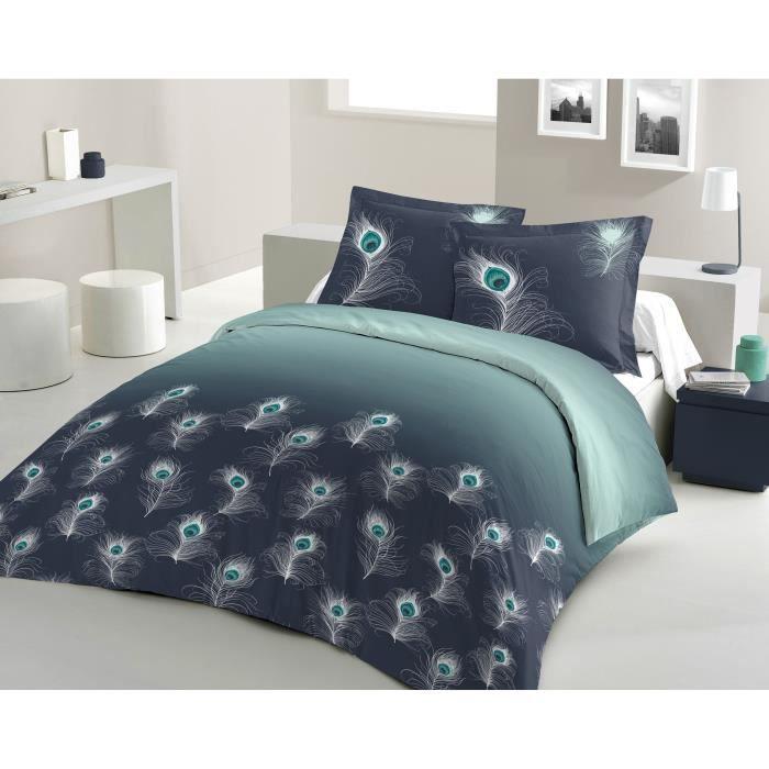 Matière : 100% coton 54 fils - Dimensons : 240x260/ 65x65 cm - Coloris : bleu marine, vert et blancPARURE DE COUETTE