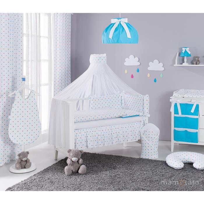 46e4d7cd96196 Set 13 pièces parure linge de lit bébé 60x120cm blanc et bleu ...