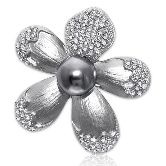 Parti pour femmes Vêtements dargent plaqué annonce Pierre avec perle noire Cinq feuilles Broche fleur Broche Pour & Aisap Z6QS8