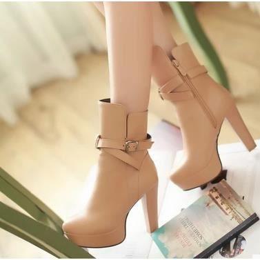 Bottes à talons hauts Femme bottes imperméables femmes bottes simples chaussures de bottes Martin bottes, Brown 39
