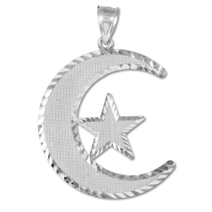 Collier Pendentif10 ct 471/1000 islamique de Collier Pendentif en or lunaireBlanc (vient avec une Chaîne de 45 cm)