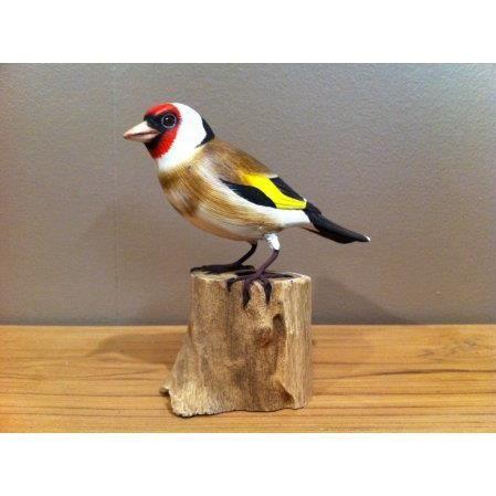 oiseau des jardins en bois sculpt et peint la main chardonneret gb achat vente objet. Black Bedroom Furniture Sets. Home Design Ideas