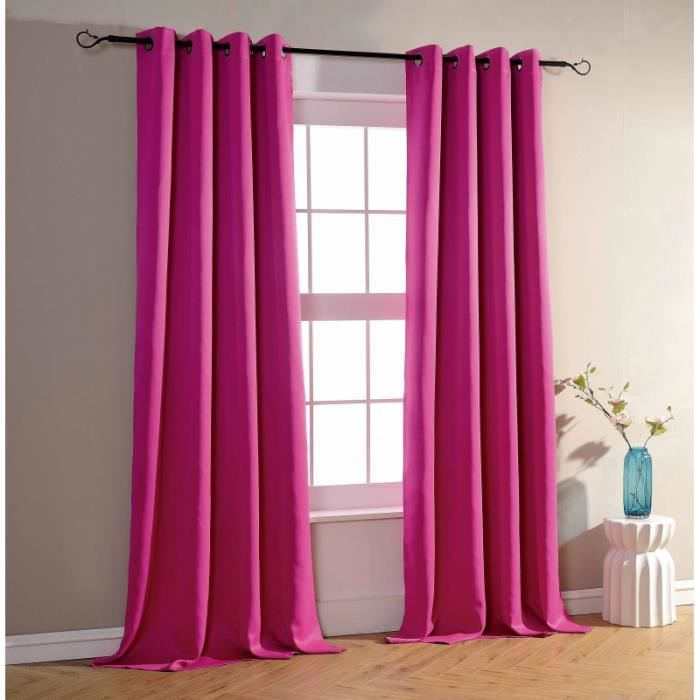 double rideaux fushia achat vente double rideaux fushia pas cher soldes d s le 10 janvier. Black Bedroom Furniture Sets. Home Design Ideas
