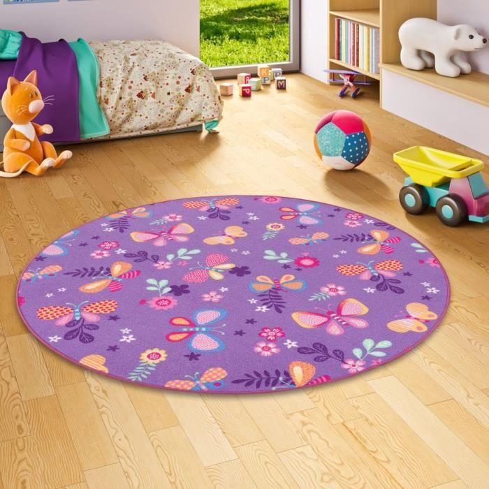 Tapis de jeu pour enfant papillon en violet rond - 4 tailles ...