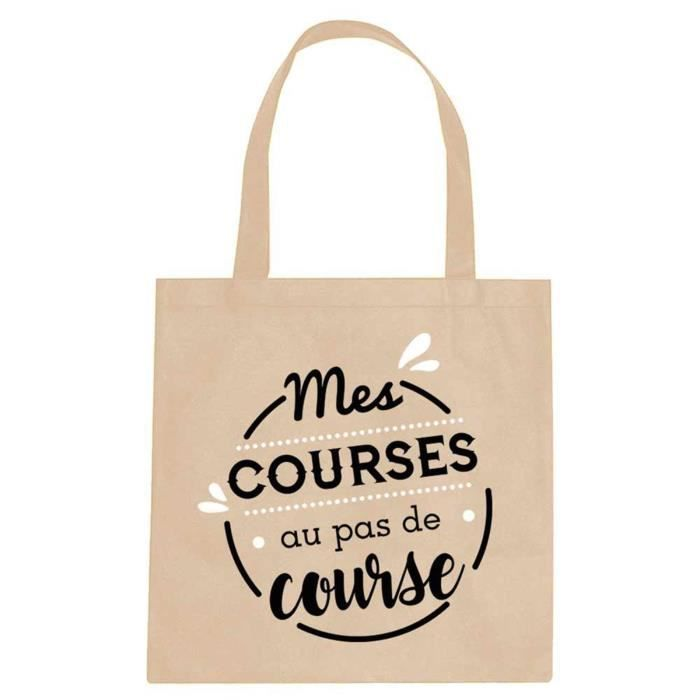0a6025a37b1 Sac coton - Tote bag 'Messages' beige (Mes courses au pas de course ...
