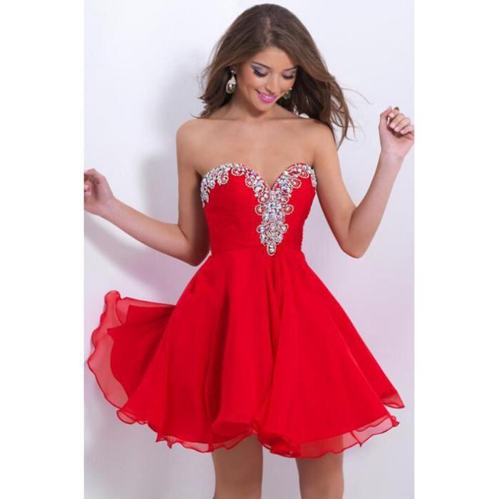 ch rie robe rouge de soir e courte femmes robe de bal robe de retour rouge achat vente robe. Black Bedroom Furniture Sets. Home Design Ideas