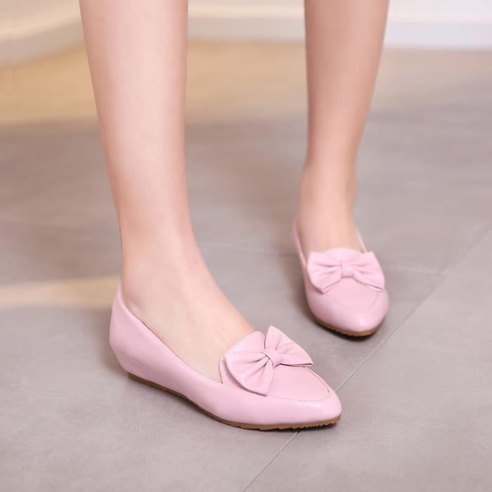 ballerine-Pure Color talon plat pour femme Insi...