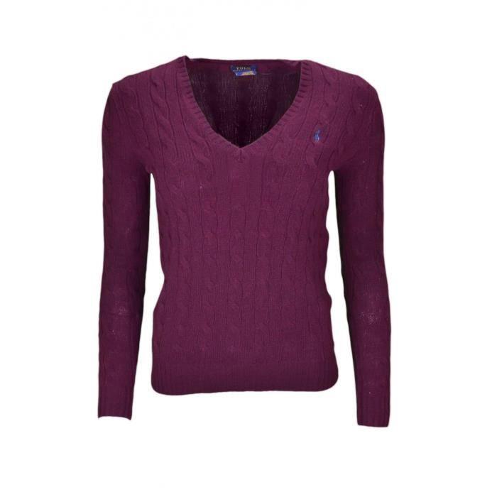 Pull col V Ralph Lauren Kimberly en laine rouge bordeaux pour femme -  Taille  XL - Couleur  Rouge f42c58b179d