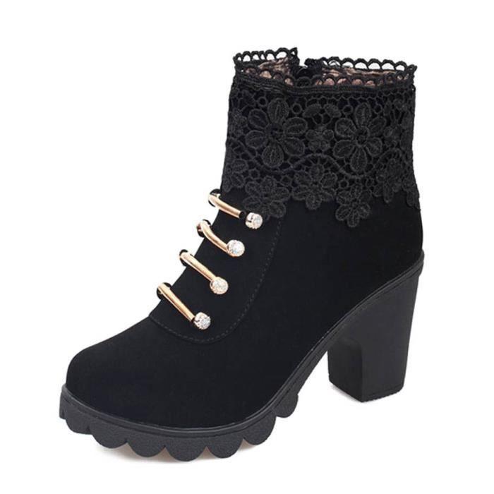 Femmes Boots Minetom Bottes Cheville Courtes Élégant Épais Automne Haute Martin Talon Dentelle Hiver Chaussures Mode Mode Pour w1q10UBnpx