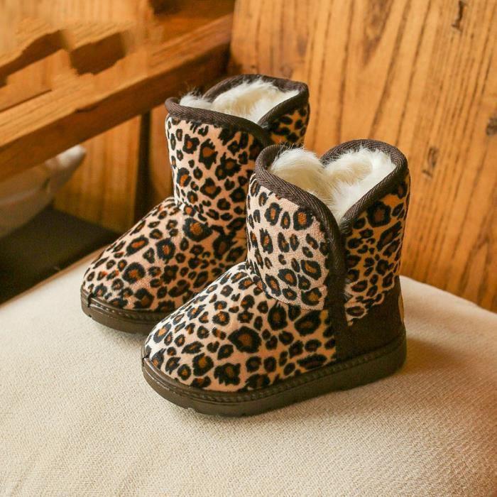 Bottes en coton léopard pour enfants hiver bottes en coton chaud