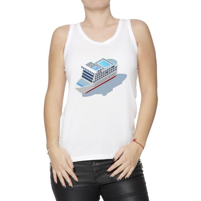 Débardeur Dessin Animé Passager Navire Femme T Shirt Blanc Taille