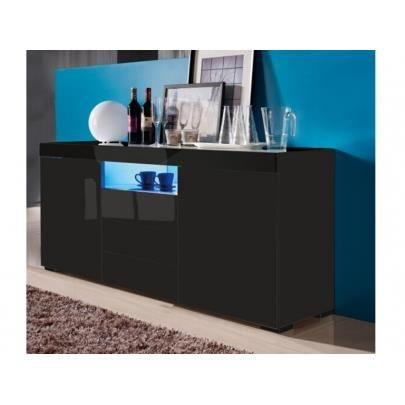 Buffet MERCURE - MDF laqué noir - LEDs - 2 portes & 3 tiroirs ...