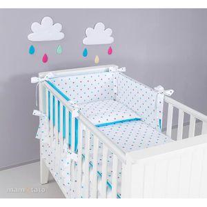 98645521eb64f ... PARURE DE LIT BÉBÉ Set 13 pièces parure linge de lit bébé 60x120cm bl  ...