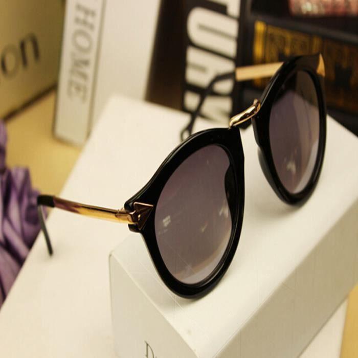 Deuxsuns®Femmes Retro Arrow lunettes de soleil en métal Frame Round lunettes de soleil Bright noir@zf920