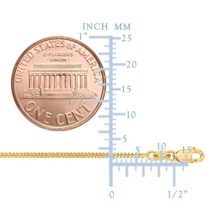 10 k chaîne Gourmette en or jaune collier, 1,5 mm, 20