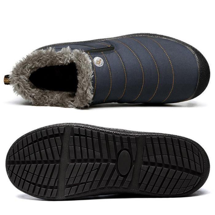 Et Bottes de neige en fourrure d'hiver Bordée d'extérieur Glissement Chaussures Bottines T3HNU Taille-48 ObMLmr