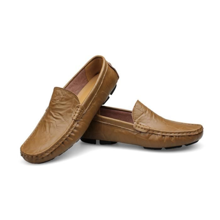 Mocassin Hommes Mode Chaussures Grande Taille Chaussures BLLT-XZ73Marron36