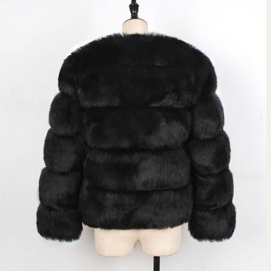 Parka Femmes De Fourrure Veste Mesdames Solide Dégradé vêtement noir D'hiver Manteau Chaud En Fausse rrpYP