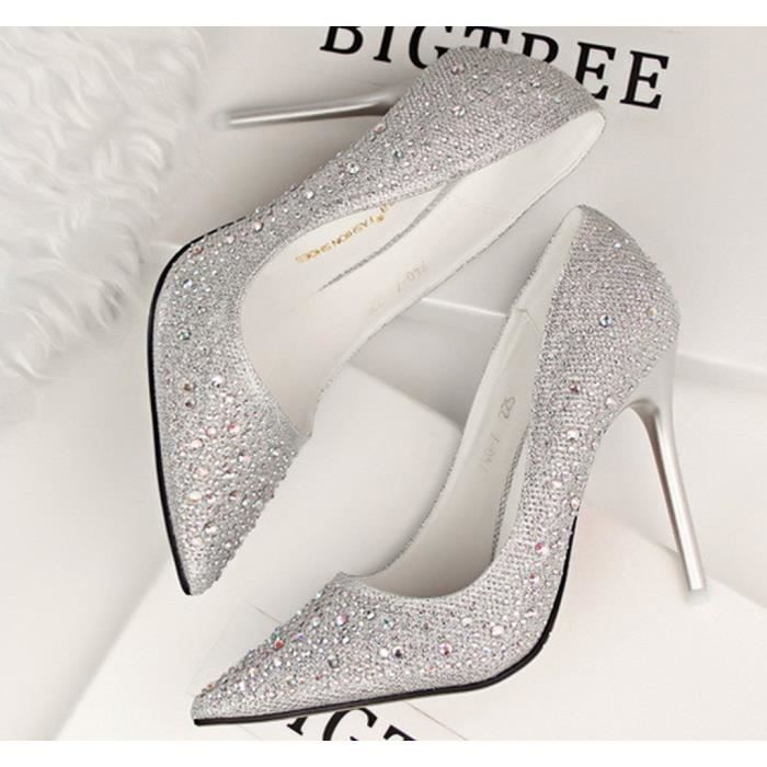 Minetom Femme Escarpin Talon Haut Élégant Brillant Strass Stilettos Soirée Mariage Bal Classique Chaussures