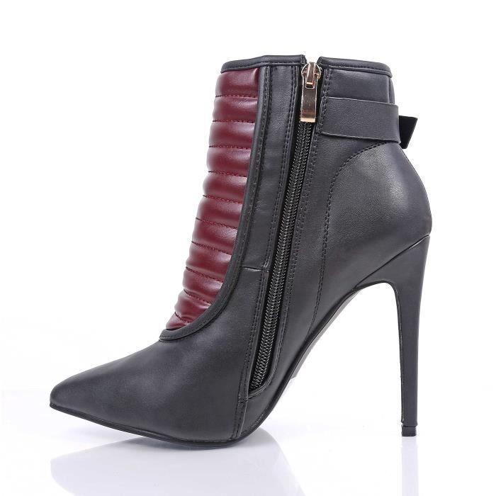 Hauts talons bottillons cheville hauteur Fermeture à glissière Boucles d'ajustement Stiletto Heels Faux cuir Y42DD Taille-41
