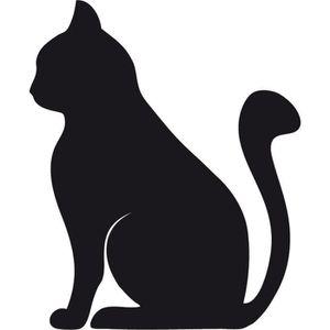 Sticker chat noir achat vente sticker chat noir pas - Dessin chat assis ...