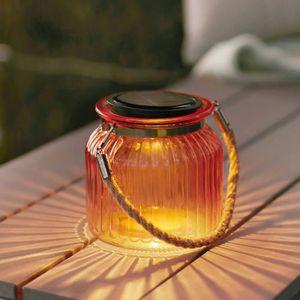 LAMPION Lanterne Solaire Ambre LED en Verre Ondulé pour Ex