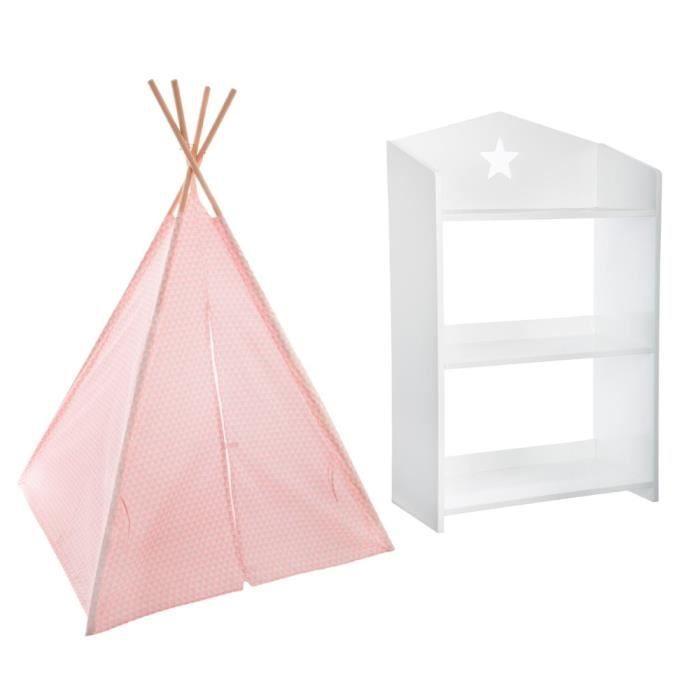 Tipi décoration rose H160 pour enfant + Bibliothèque étoile blanche ...