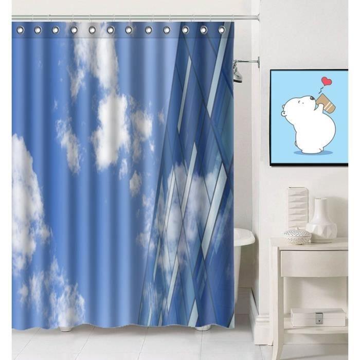 01053yl-7 Rideau de douche bleu Nuages ciel et blanc Salle de bain ...