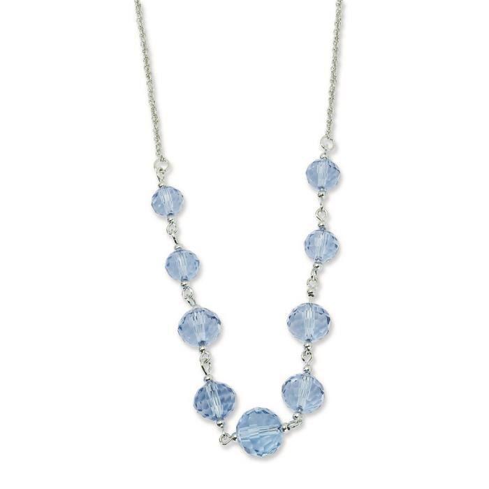 Ton Argent Perles de cristal Bleu - 16 cm-ext-Collier