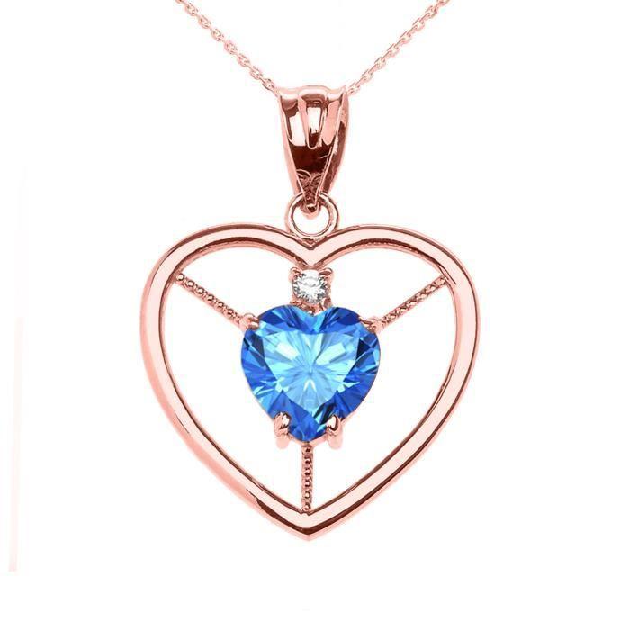 Collier Femme Pendentif Élégant 14 Ct Or Rose Bleu Topaze et Diamant Solitaire Cœur (Livré avec une 45cm Chaîne)