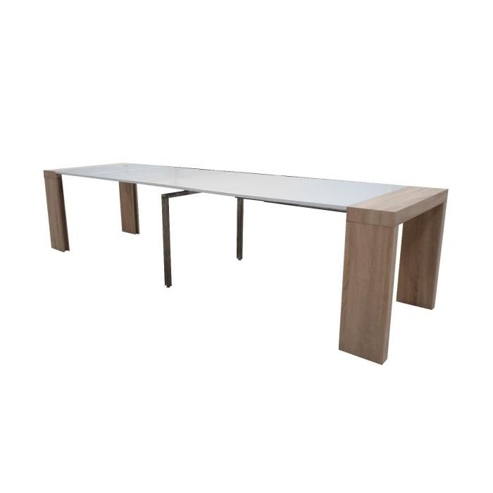 Table console extensible othello 6 allonges ch ne clair for Table extensible chene clair