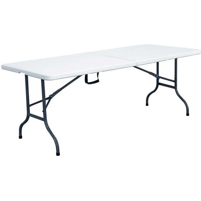 Table pliante transportable 12 personnes 244 cm achat vente table de jardin grande table for Table pliante 2 personnes