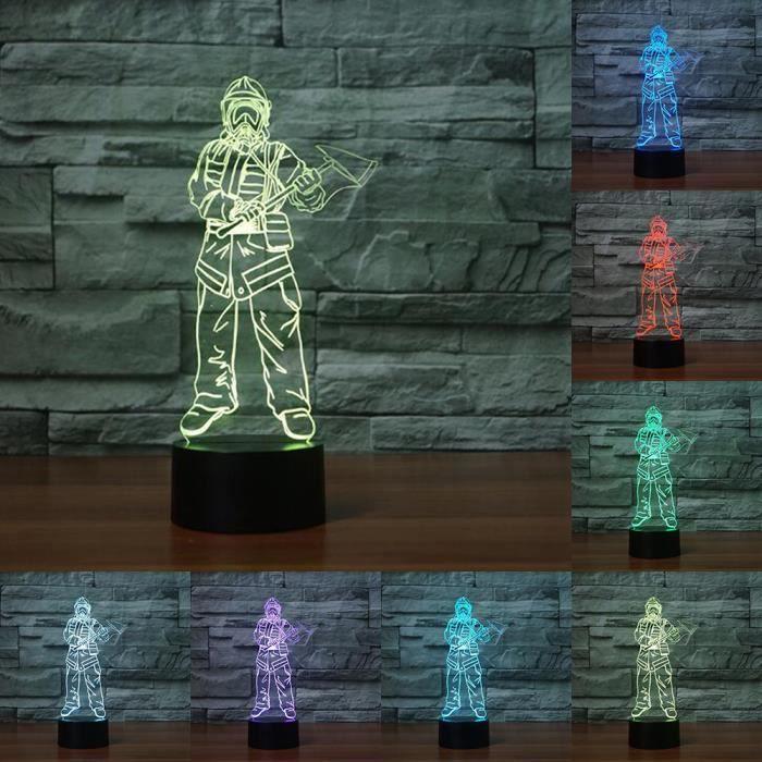 3d Changement Colore Pompier Nuit Lampe Led Bureau Lumieres