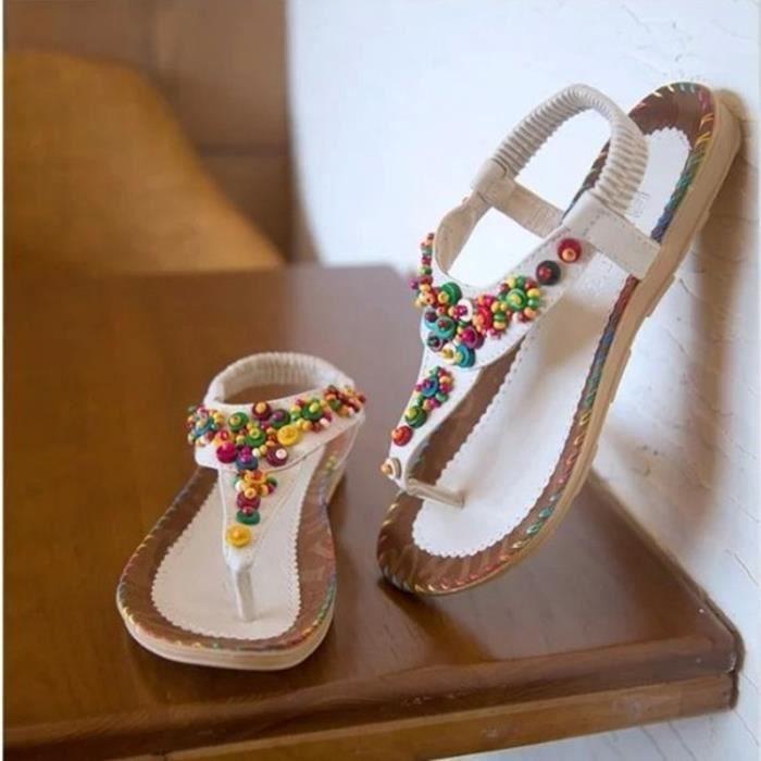Nouvelles d'été Sandales Femme avec perles Flat Toe Sandals Bohemia Doux Chaussures de plage yjyEd