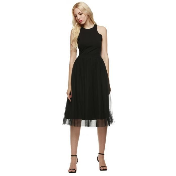 Robe femme noir Finejo col rond sans manches maille Patchwork robe chic