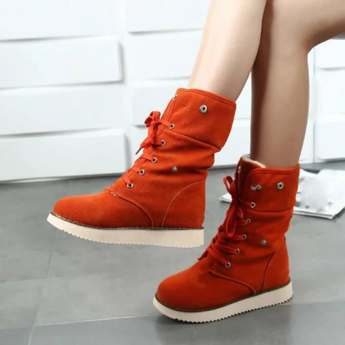 Femmes Lady Boots Chaussures de confort Chaussures à lacets Pieds ronds Chaussures hiver chaude orange