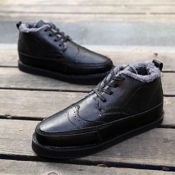 Botte Homme Nouveau design Vintage antidérapante Skater en cuir pour Hommes noir taille10 nt0ejOGar