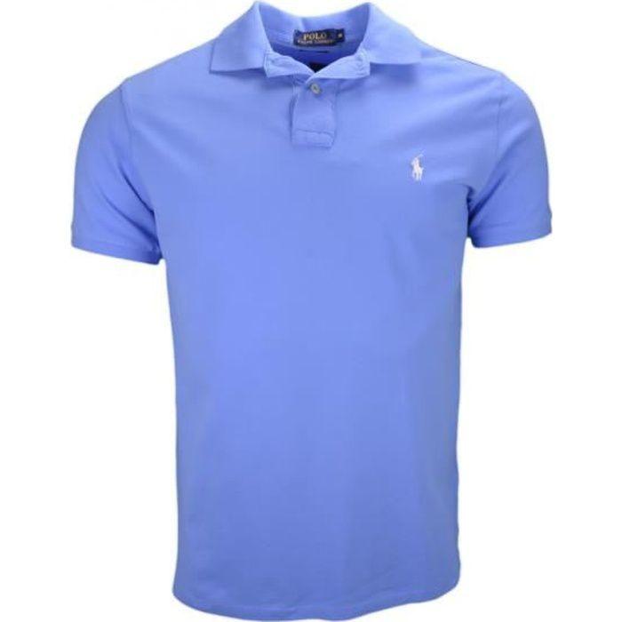 Polo 2 boutons Ralph Lauren bleu ciel slim fit pour homme - Couleur  Bleu -  Taille  XL a9d9b39f95da